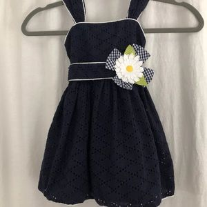 Jenny & Me Navy Dress Bubble Hem Yellow Flower 2T